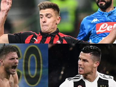 Sumbangsih satu gol dan satu assist Ronaldo saat Juventus melibas Sassuolo tiga gol tak berbalas membuatnya makin nyaman di singasana perolehan gol Liga Italia Serie A hingga pekan ke-23. (Kolase Foto AFP)