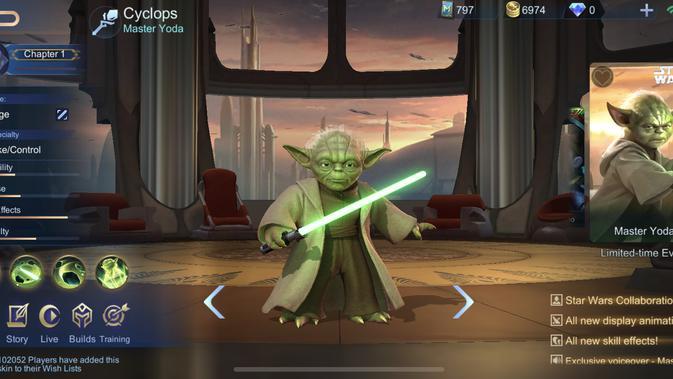 Skin Yoda dari Star Wars hadir di Mobile Legends. (Doc: Moonton)