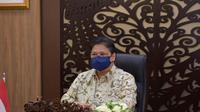 Menteri Koordinator Bidang Perekonomian Airlangga Hartarto, dalam Konferensi Pers Ratas Evaluasi PPKM secara virtual, di Jakarta, Senin (18/10/2021). (Sumber ekon.go.id)