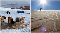 Dilanda suhu -3 derajat, Gurun Sahara di Afrika bersalju. (Sumber: Instagram/@kaaarimo/The Sun)