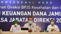 Di masa akhir direksi 2016-2020, Direktur Utama BPJS Kesehatan Fachmi Idris menyampaikan arus kas keuangan surplus Rp18,7 triliun saat konferensi pers pada Senin, 8 Februari 2021. (Humas BPJS Kesehatan Kantor Pusat)