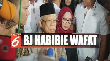 Ma'ruf Amin mengaku sempat menjenguk Habibie ketika dirawat intensif di RSPAD Gatot Soebroto.