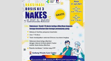 Tenaga kesehatan sudah bisa vaksin dosis ketiga di RSUP Wahidin Sudirohusodo Makassar (Liputan6.com/Instagram @rsupwahidin_official)
