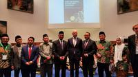 Menteri Agama RI Lukman Saifuddin (kelima dari kiri) dalam Konferensi Internasional Kedua mengenai Islam Moderat di Belanda. (kredit: KBRI Den Haag)