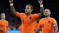 Memphis Depay mencetak dua gol pada laga Belanda melawan Peru. (doc. KNVB)