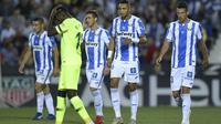 Oscar Rodriguez merayakan golnya ke gawang Barcelona. (AFP/Oscar del Pozo)