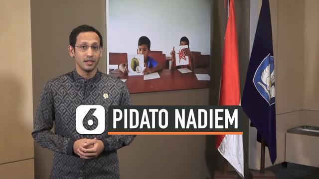 Menteri Pendidikan dan Kebudayaan Nadiem Makarim menyampaikan pidatonya menyambut Hari Guru Nasional 2019. Nadiem mengajak para guru di tanah air untuk melakukan perubahan kecil.