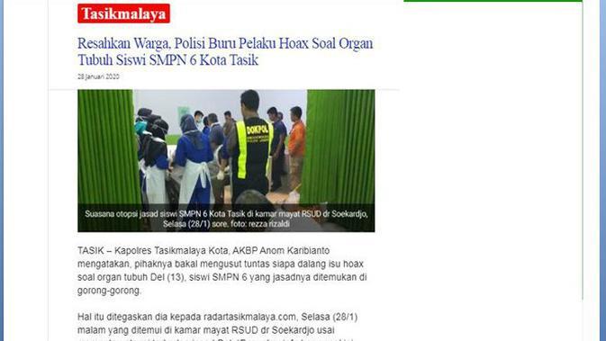 [Cek Fakta] Jasad Siswa SMPN6 Tasikmalaya Sudah Diambil Organ Tubuhnya, Benarkah?