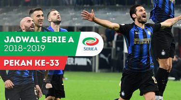 Berita video jadwal Serie A 2018-2019 pekan ke-33. Inter Milan hadapi AS Roma, Minggu (21/4/2019) di Stadion Giuseppe Meazza, Milan.