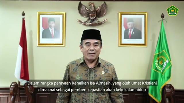 Menteri Agama RI Fachrul Razi menyampaikan ucapan selamat kepada umat kristiani Indonesia di hari Kenaikan Isa Almasih.