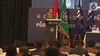 Menteri Pemuda dan Olahraga RI ( Menpora) Zainudin Amali memberikan sambutan pada Kongres Luar Biasa (KLB) Pemilihan PSSI di Jakarta, Sabtu (2/11/2019). Agenda KLB PSSI kali ini adalah pemilihan ketua umum, wakil ketua umum, serta 12 anggota Komite Eksekutif (Exco). (Liputan6.com/Herman Zakharia)