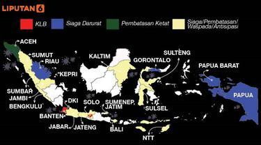 Banner Infografis Status Darurat Corona di Indonesia. (Liputan6.com/Trieyasni)