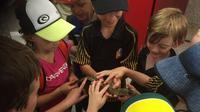 """Pemain sepak bola junior di Darwin dengan buaya yang melarikan diri yang mereka beri nama """"Cutie Pie"""". (Wesley de Kruijf)"""