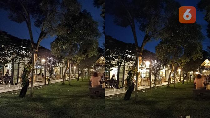 Hasil foto Redmi Note 10S, malam hari (kiri: tanpa night mode). (Liputan6.com/ Agustin Setyo W)