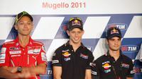 Valentino Rossi yang memperkuat Ducati dan Casey Stoner, pembalap Repsol Honda di konferensi pers GP Italia 2011. (Zimbio)