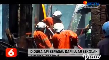 Sebuah gudang di SDN Kutisari II di Jalan Taman Kutisari, Surabaya terbakar. Kebakaran ini menghanguskan sejumlah tumpukan kursi, dan meja di dalam gudang. Seorang guru jatuh pingsan.