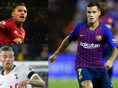 Banyak kejutan yang hadir sejak awal musim 2018/19. Salah satunya para pesepak bola yang mengalami kenaikan dan penurunan performa. Bursa transfer musim ini diramalakan menarik karena akan banyak pemain yang berpindah klub. (Kolase Foto AFP)