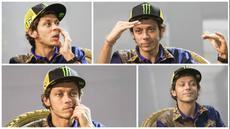 Pebalap MotoGP Valentino Rossi hadir dalam peluncuran produk terbaru Yamaha, Xabre, di The Mulia Resort, Bali, Selasa (26/1/2016). Inilah beberapa mimik lucu Rossi saat konferensi pers peluncuran motor baru Yamaha tersebut. (Bola.com/Vitalis Yogi Trisna)