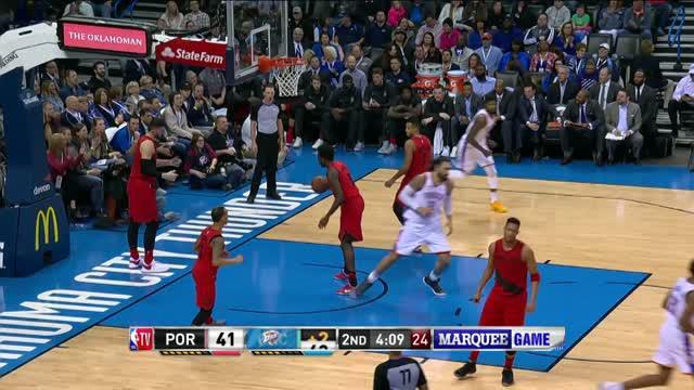 Berita video game recap NBA 2017-2018 antara Portland Trail Blazers melawan Oklahoma City Thunder dengan skor 117-106.