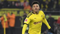 Jadon Sancho (117 juta euro) - Pemain Borussia Dortmund ini kini memiliki harga pasar transfer tertinggi di Bundesliga. Sancho memiliki harga pasar mencapai 117 juta euro. (AFP/ Ina Fassbender)