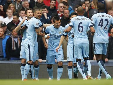 Sergio Aguero berhasil membuka keunggulan bagi City ketika laga baru berjalan tiga menit. (Reuters/Phil Noble Livepic)