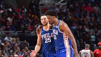 Joel Embiid dan Ben Simmons menjadi motor Philadephia 76ers saat mengalahkan Houston Rockets di Toyota Center, Selasa (31/10/2017) pagi WIB. (NBA Fantasy)