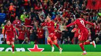 Liverpool menumbangkan AC Milan pada fase grup B Liga Champions 2021/2022 di Anfield, Kamis (16/9/2021) dini hari WIB. (AFP/Paul Ellis)