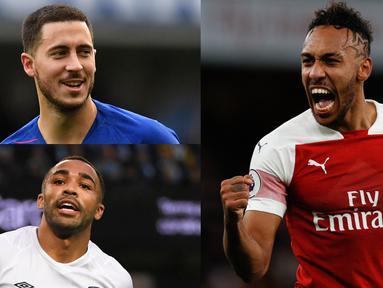 Raihan dua gol ke gawang Tottenham Hotspur membawa Aubameyang puncaki top scorer Premier League. Aguero yang tidak tampil di pekan ke-14 harus berda di peringkat tiga. (Kolase Foto AFP)