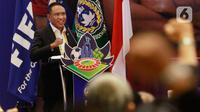 Menpora RI, Zainudin Amali, memberi sambutan saat pembukaan Kongres PSSI di Hotel Raffles, Jakarta, Sabtu (29/5/2021). Kongres tersebut akan membahas kepastian Liga 1 dan 2 musim 2021-2022. (Bola.com/M Iqbal Ichsan)