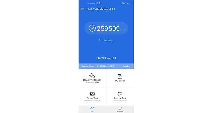 Skor benchmark Huawei nova 5T (Foto: Andina Librianty/Liputan6.com)