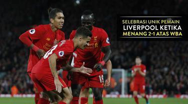Video selebrasi unik Coutinho, Mane dan Firmino saat merayakan gol kedua Liverpool atas WBA, skor akhir 2-1