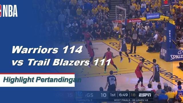 Stephen Curry mencetak 37 poin dengan delapan assist dan delapan rebound, Klay Thompson menambahkan 24 ketika Warriors memenangkan Game 2 melawan Portland, 114-111.