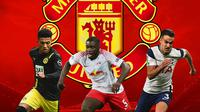Manchester United - Jadon Sancho, Dayot Upamecano, Sergio Reguilon (Bola.com/Adreanus Titus)