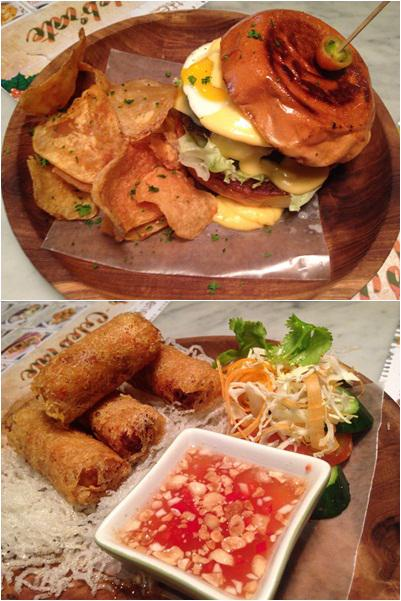 Classic double cheese burger, red cheddar, tomato, lettuce&pickles with potato chips (atas), Vietnamese fried spring rolls, minced chiken, carrot, jicama, & chili vinegar sauce (bawah)/ copyright by Vemale.com/Anisha
