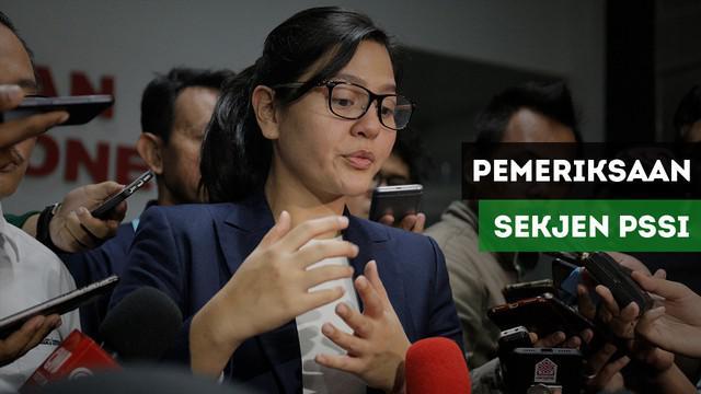 Sekretaris Jenderal (Sekjen) PSSI, Ratu Tisha Destria, diperiksa Satuan Tugas (Satgas) Antimafia Bola di Dittipidkor Bareskrim Polri, Gedung Ombudsman, Jakarta, Jumat (28/12/2018).