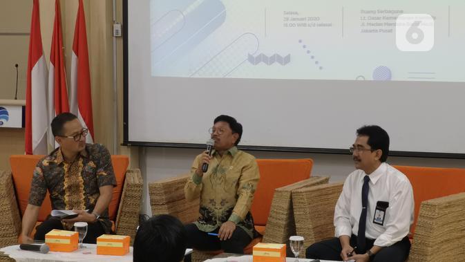 Konferensi pers mengenai informasi terbaru tentang Rancangan Undang-Undang Perlindungan Data Pribadi oleh Menteri Komunikasi dan Informatika, Johnny G. Plate. (Liputan6.com/ Agustinus Mario Damar)