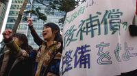 Aksi protes di Korea Selatan, menuntut keadilan pasca-kekejaman Perang Dunia II (AP/Ahn Young-joon)