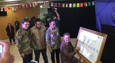 Peresmian PT Mandiri AXA Mandiri General Insurance bekerjasama PT Pison Tickettech untuk memberikan perlindungan asuransi kepada penonton yang menyaksikan Asian Games 2018.
