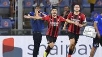 Pemain AC Milan Brahim Diaz merayakan golnya ke gawang Sampdoria yang dikawal Emil Audero dalam match day pertama Liga Italia Serie A di Stadion Luigi Ferraris, Genoa, Italia, Selasa (24/8/2021) dini hari WIB. (Tano Pecoraro/LaPresse Via AP)