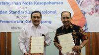 Pemerintah Kota Kupang, Nusa Tenggara Timur menandatangani kerjasama dengan Badan Standardisasi Nasional (BSN) di Jakarta, Senin (26/3/2018).