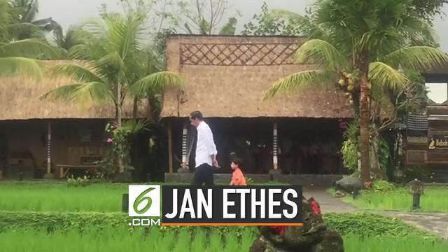 Disela-sela kunjungan kerjanya di Bali, Presiden Joko Widodo atau Jokowi menyempatkan untuk menemani sang cucu Jan Ethes Srinarendra bermain di pinggir sawah.