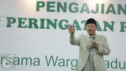 Tokoh Muda NU, H. Nusron Wahid memberi sambutan saat pengajian umum peringatan Rajabiyah, Jakarta, Minggu (2/4). Pengajian ini juga mendeklarasikan dukungan kepada pasangan Cagub-Cawagub DKI Jakarta no urut dua. (Liputan6.com/Faizal Fanani)
