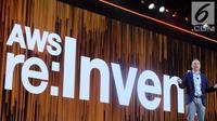 CEO Amazon Web Services (AWS), Andy Jassy, pada saat gelaran AWS di Las Vegas, Amerika Serikat. (Liputan6.com/ Andina Librianty)
