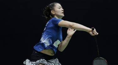 Ganda putri Australia, Gronya Somerville, saat melawan wakil Jepang, Misaki Matsutomo/Ayaka Takahashi, pada laga Indonesia Masters, Rabu (15/1/2020). Pasangan Australia tersebut kalah 21-13 17-21 21-9. (Bola.com/M Iqbal Ichsan)