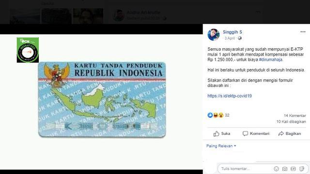 Cek Fakta Hoaks Pemilik E Ktp Dapat Kompensasi Rp 1 250 000 Cek Fakta Liputan6 Com