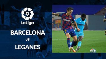 Berita motion grafis statistik Barelona vs Leganes pada lanjutan La Liga 2019-2020. Lionel Messi dan Ansu Fati mencetak masing-masing 1 gol.