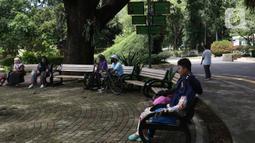 Wisawatan menikmati suasana di Taman Margasatwa Ragunan (TMR), Jakarta Selatan, Sabtu (26/12/2020). Meskipun pandemi covid-19 masih terjadi, sejumlah warga tetap mengunjungi Ragunan di libur panjang Natal 2020 ini. (Liputan6.com/Herman Zakharia)
