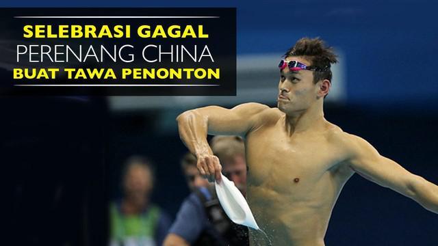Video selebrasi gagal yang dilakukan Sun Yang perenang asal China saat meraih medali Emas 200 meter gaya bebas di Olimpiade Rio 2016, Selasa (9/8/2016).