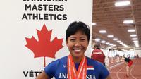 Dedeh Erawati kembali mempersembahkan medali emas dari nomor lompat gawang Canadian Masters Athletics, Senin (12/3/2018).