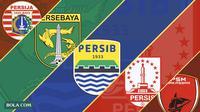 Ilustrasi - Persija Jakarta, Persebaya Surabaya, Persib Bandung, Persis Solo, PSM Makassar (Bola.com/Adreanus Titus)
